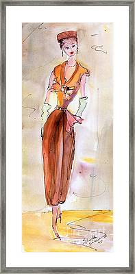 Girl With Pillbox Hat Vintage Fashion  Framed Print by Ginette Callaway