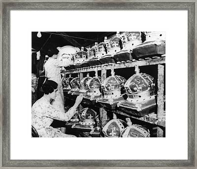 Girls In A Factory, As They Complete Framed Print by Everett