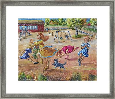 Girls Playing Horse Framed Print