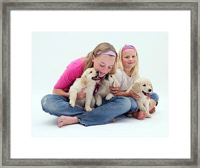 Girls With Puppies Framed Print by Jane Burton