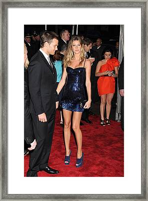 Gisele Bundchen Wearing A Versace Dress Framed Print