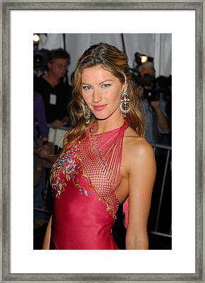 Gisele Bundchen Wearing Dior Haute Framed Print by Everett