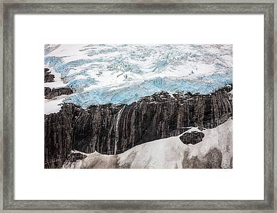 Glacial Edge Waterfall Framed Print by Mike Reid