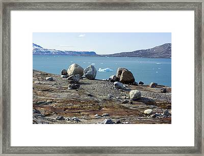 Glacial Erratics And Fjord Framed Print by Dr Juerg Alean