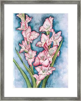 Gladiola Painting Framed Print by Linda Wells