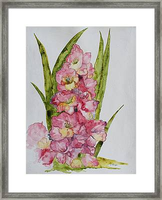 Framed Print featuring the painting Gladiolas by Patsy Sharpe