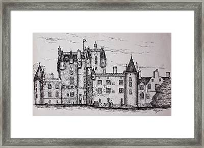 Framed Print featuring the drawing Glamis Castle by Sheep McTavish