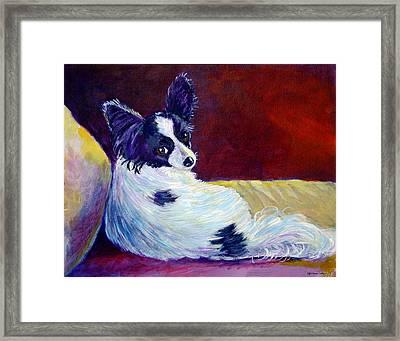 Glamor - Papillon Dog Framed Print by Lyn Cook