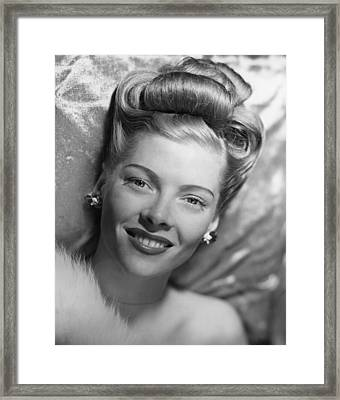 Glamorous Woman Lying On Satin Pillow, (b&w), Portrait Framed Print by George Marks