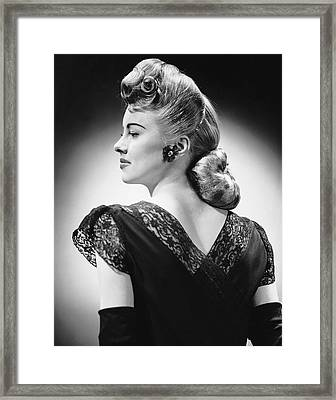 Glamorous Woman Posing Framed Print by George Marks