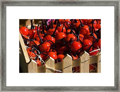 Framed Print featuring the photograph Glass Cherries by Raffaella Lunelli