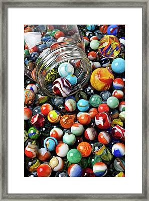 Glass Jar And Marbles Framed Print by Garry Gay