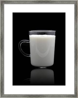 Glass Of Milk  Framed Print by Natthawut Punyosaeng