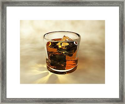 Glass Of Whiskey, Computer Artwork Framed Print by Christian Darkin