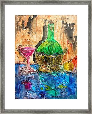 Glass Of Wine Framed Print by Mary Kay Holladay