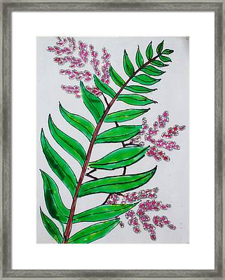 Glass Painting-plant Framed Print by Rejeena Niaz
