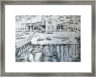 Framed Print featuring the pastel Glen's Home by Gretchen Allen