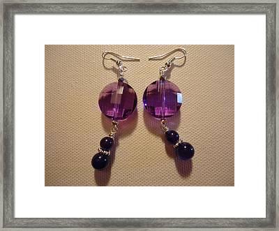 Glitter Me Purple Earrings Framed Print by Jenna Green