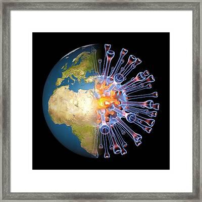 Global Flu Pandemic, Artwork Framed Print by Pasieka