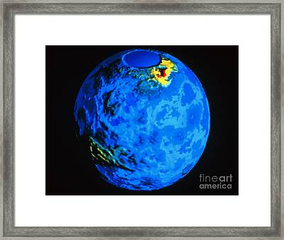 Global Topographic Map Of Venus Framed Print by NASA / Science Source