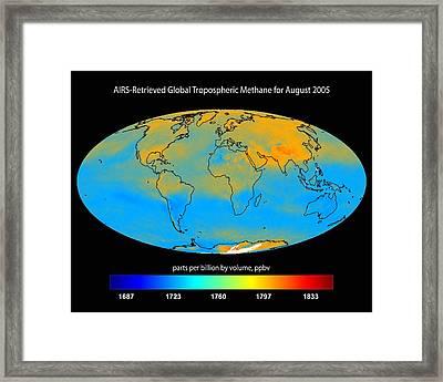 Global Tropospheric Methane, 2005 Framed Print by Nasajpl