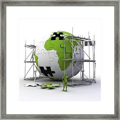 Globe Construction Framed Print by Pasieka