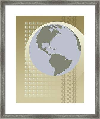 Globe Showing North And South America Framed Print by Don Bishop