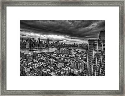 Gloomy New York City Day Framed Print by Jose Vazquez