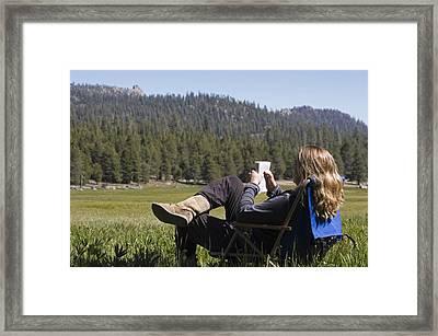 Gloria Reid Relaxing In Framed Print by Rich Reid