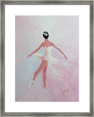 Glowing Ballerina Original Palette Knife  Framed Print by Georgeta  Blanaru