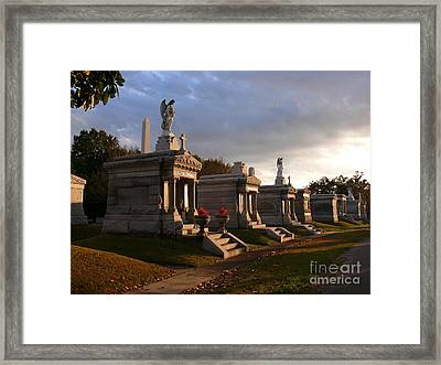 Framed Print featuring the photograph Glowing Cemetery by Jeanne  Woods