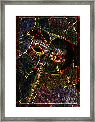 Glowing Mask With Leaves Framed Print by Nareeta Martin