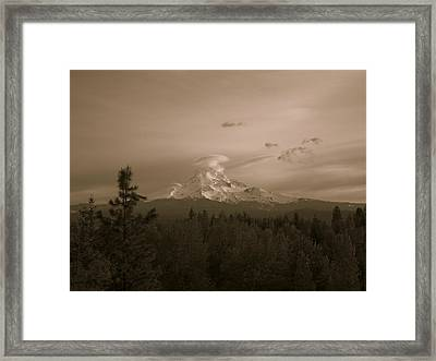 Glowing Mt. Hood Framed Print by Melissa  Maderos