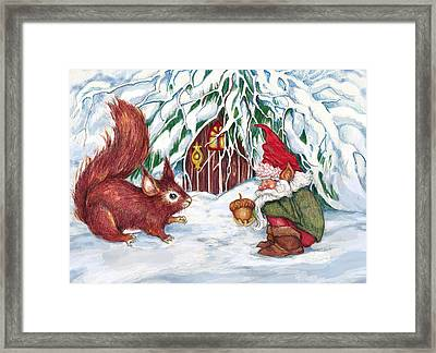 Gnome's Present Framed Print