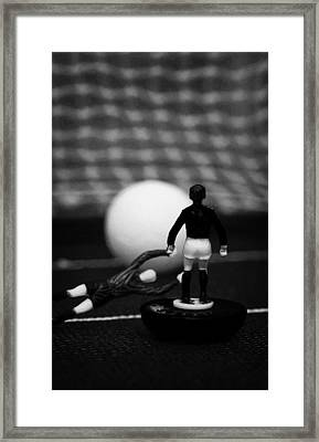 Goalkeeper Diving To Foul Player In The Box Football Soccer Scene Reinacted With Subbuteo  Framed Print by Joe Fox