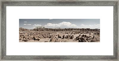 Framed Print featuring the photograph Goblin Valley Desert Large Panorama by Mike Irwin