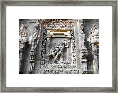 God Carved At Elora Caves Framed Print by Sumit Mehndiratta
