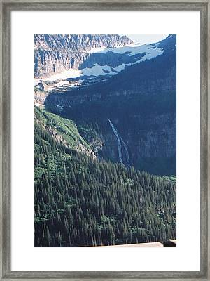 Going To The Sun Waterfall Framed Print by C E McConnell
