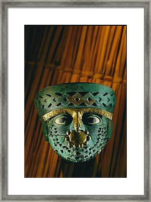 Gold-and-copper Burial Mask Framed Print by Kenneth Garrett