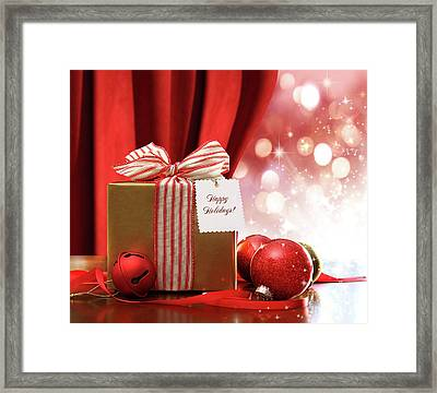 Gold Christmas Gift Box And Ornaments With Sparkle Lights  Framed Print by Sandra Cunningham