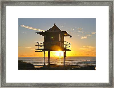 Framed Print featuring the photograph Gold Coast Life Guard Tower by Eric Tressler