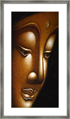 Gold Face Of Buddha Framed Print