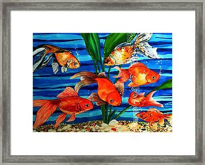 Gold Fishes Framed Print by Johnson Moya