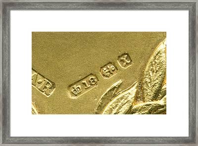 Gold Hallmarks, 1897 Framed Print by Sheila Terry