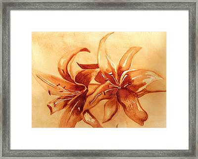 Gold Lilies Framed Print