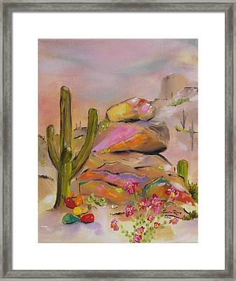 Gold-lined Rocks Framed Print