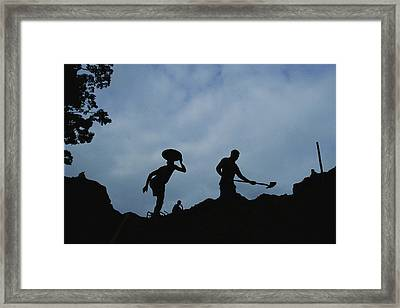 Gold Miners At Work In Gabons Minkebe Framed Print by Michael Nichols
