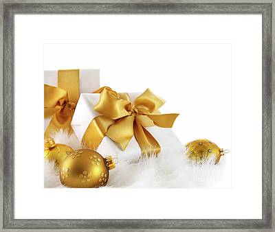 Gold Ribboned Gifts With Christmas Balls  Framed Print by Sandra Cunningham