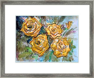 Gold Roses Framed Print by Mindy Newman