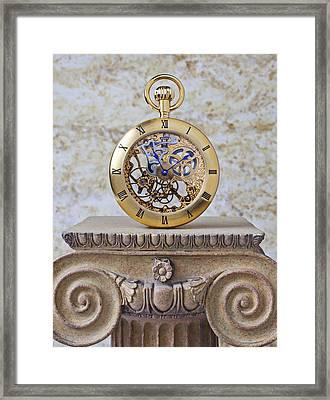 Gold Skeleton Pocket Watch Framed Print by Garry Gay